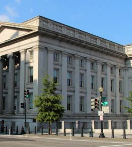 Unites States Treasury Building.  By Rchuon24 (Own work) [CC BY-SA 3.0], via Wikimedia Commons